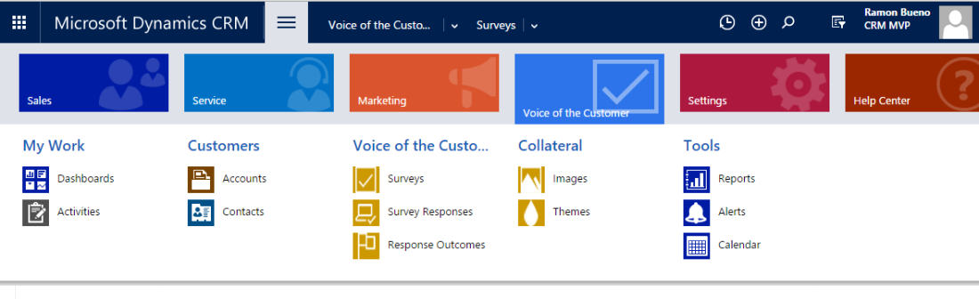 Voice of the customer CRM Main Menu