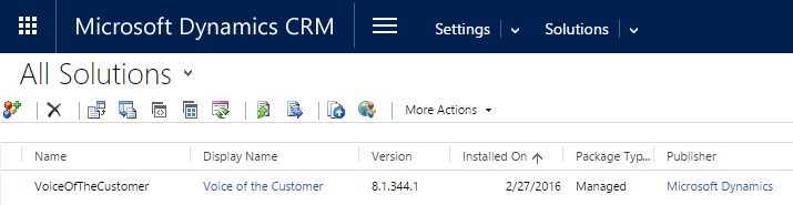 Voice of the customer CRM Solution 8.1.344.1
