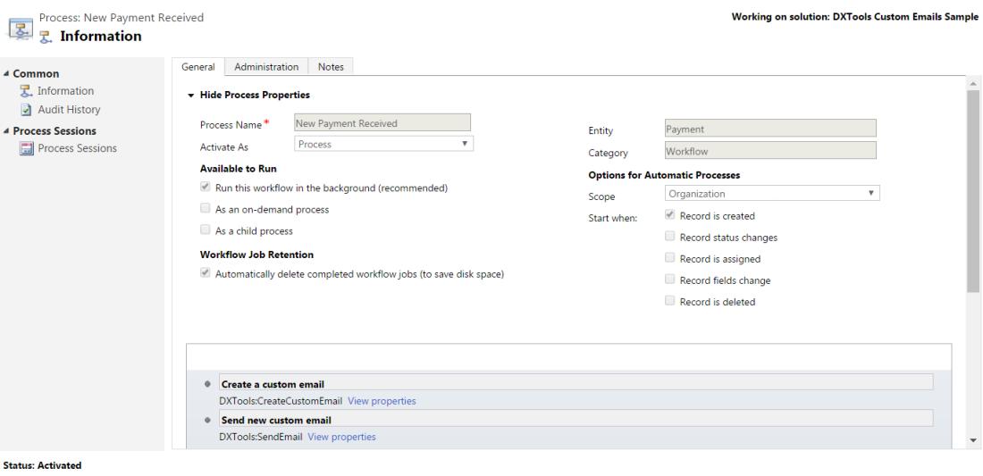 DXTools Dynamics Custom Emails - Sample workflow