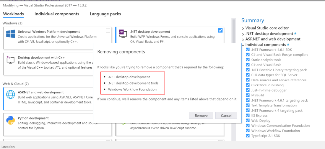 Failed to install Microsoft VisualStudio Component Debugger