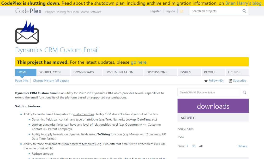 RTB Blog - Codeplex - Dynamics CRM Custom Email