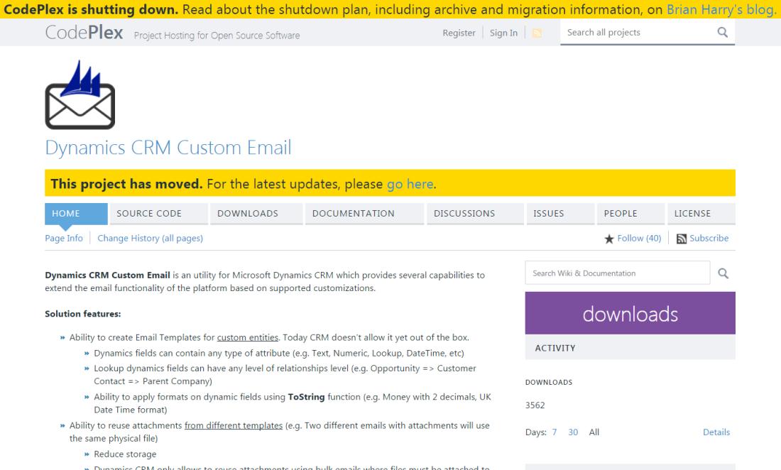 RTB Blog - Codeplex - Dynamics CRM Custom Email