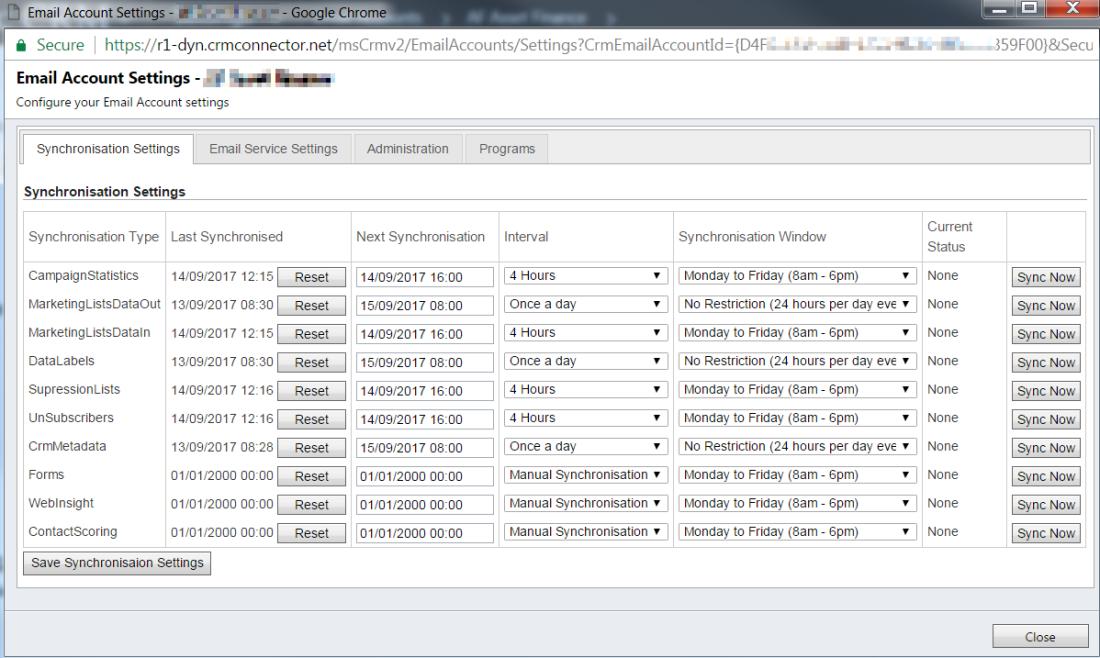 ramontebar_blog_Dynamics365_DotMailer_SynchronisationSettings