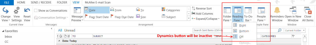 ramontebar_blog_Dynamics Outlook App - Reading Pane Off