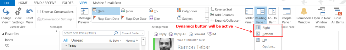 ramontebar_blog_Dynamics Outlook App - Reading Pane Right or Bottom