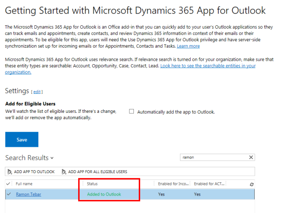 ramontebar_blog_Add Dynamics 365 App for Outlook in Settings - Deployment Status