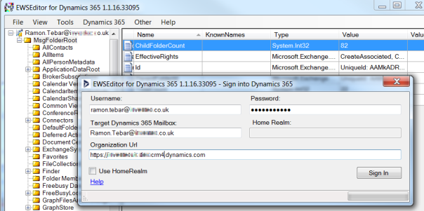 ramontebar_blog_EWSEditor_Connect to Dynamics 365 Service